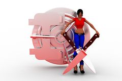 3d Women Holding Knife Cross  And Money Locker Stock Photo