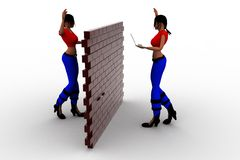 3d Women Holding Laptop - Brick Wall In Center Concept Stock Images