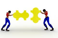 3d women holding puzzle Royalty Free Stock Photography