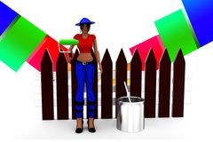 3d Women holding a roller -near by paint can illustration Royalty Free Stock Image