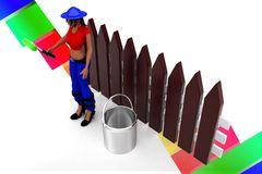 3d Women holding a roller -near by paint can illustration Royalty Free Stock Photo