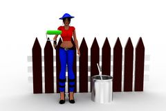 3d Women holding a roller -near by paint can Stock Photography