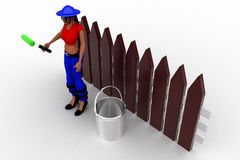 3d Women holding a roller -near by paint can Stock Images