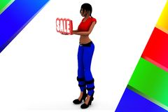 3d Women holding Sale banner illustration Royalty Free Stock Photo