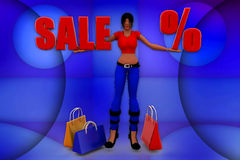 3d Women holding Sale percentage banner illustration Royalty Free Stock Photo