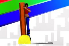 3D women holding scale - measuring tape concept Royalty Free Stock Image