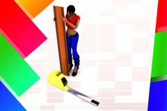 3D women holding scale - measuring tape illustration Stock Image