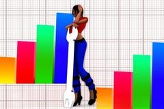 3d Women Holding Wrench Illustration Stock Image