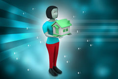 3d women with home Stock Image