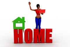 3d women home Royalty Free Stock Image