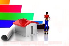 3d women home construction details illustration Royalty Free Stock Images