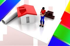 3d women home construction details illustration Royalty Free Stock Photography