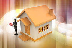 3d women with home and key. In color background royalty free illustration