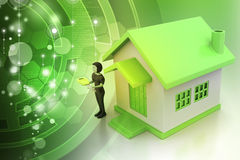3d women with home and key Stock Photo
