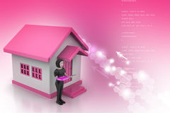 3d women with home and key. In color background stock illustration