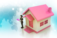 3d women with home and key Stock Photos