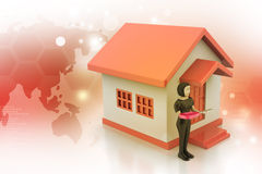 3d women with home and key Stock Photography