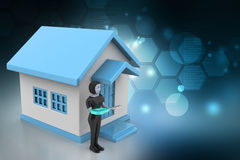 3d women with home and key. In color background vector illustration