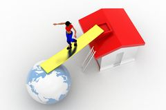 3d women in between house and globe Stock Photo