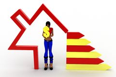3d women house money illustration Royalty Free Stock Image