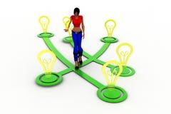 3d women idea bulb illustration Royalty Free Stock Photos