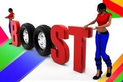 3d women illustration of boosting Stock Images