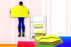 3d women important mail - box illustration Stock Photos