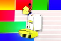 3d women important mail - box illustration Stock Images