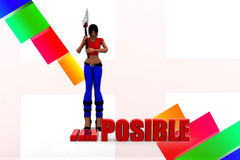 3d women impossible illustration Royalty Free Stock Photography