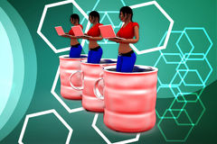 3d women inside can illustration Stock Images