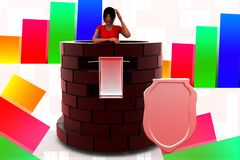 3d women inside the Castle illustration Stock Photos