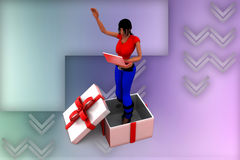 3d women inside gift box illustration Stock Photo