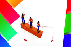 3d women job hunt illustration Stock Photography