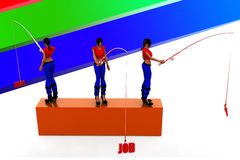 3d women job hunt illustration Royalty Free Stock Photo