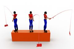 3d women job hunt Stock Image