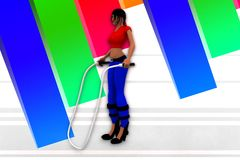 3D women jumping rope illustration Royalty Free Stock Photography