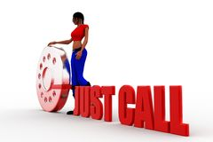 3d women with just dial illustration Royalty Free Stock Photography