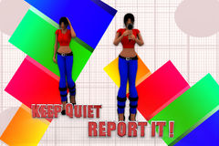 3d Women Keep Quiet Report It Illustration Royalty Free Stock Images