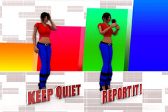 3d Women Keep Quiet Report It Illustration Stock Photo