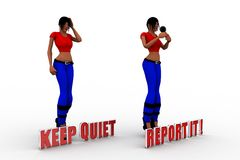 3d Women Keep Quiet Report It Royalty Free Stock Images