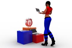 3d Women Laptop Mobile Clock Royalty Free Stock Images