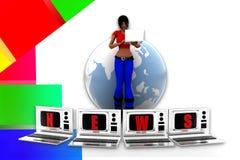 3d women laptop news illustration Royalty Free Stock Photo