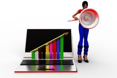 3d Women Laptop with profit graph Royalty Free Stock Images