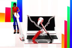 3d women Laptop Settings Illustration Stock Image