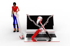 3d women Laptop Settings Illustration Royalty Free Stock Image
