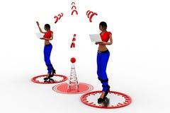 3d Women Laptop Wifi Transfer Stock Photography