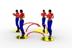 3d Women Laptop Wifi Transfer Stock Photos