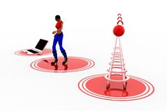 3d Women Laptop Wifi Transfer Stock Image