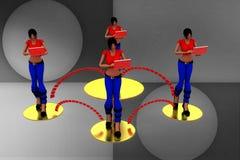 3d Women Laptop Wifi Transfer Illustration Royalty Free Stock Photos