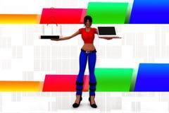 3d Women Laptop Wifi Transfer Illustration Stock Images